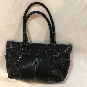 Fossil Black Pebbled Leather Satchel Bag